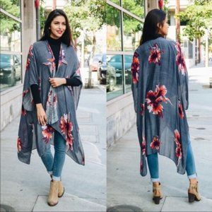 Floral Boho Chic Kimono Wrap Cover Up Charcoal